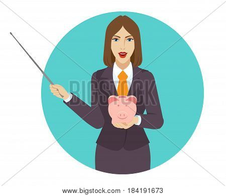 Businesswoman holding a pointer and piggy bank. Portrait of businesswoman character in a flat style. Vector illustration.
