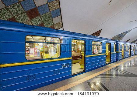 Kiev, Ukraine - April 4, 2017: Subway train in Kiev, Ukraine. Station Teremki
