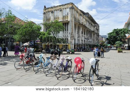 Jakarta Indonesia - 26 January 2013: Colorful bicycles lined up on Fatahilah Square in Jakarta's Old Kota Town indonesia