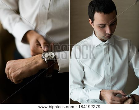 The fiance wears a watch in the room