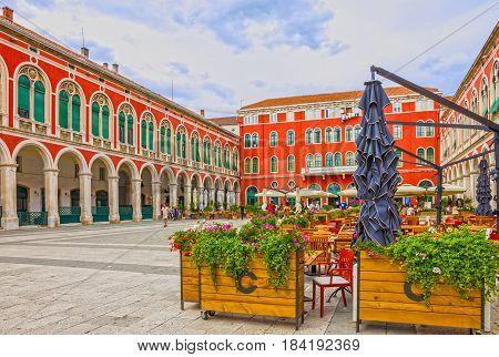 Split, Croatia - April 9, 2017: Split Old town square