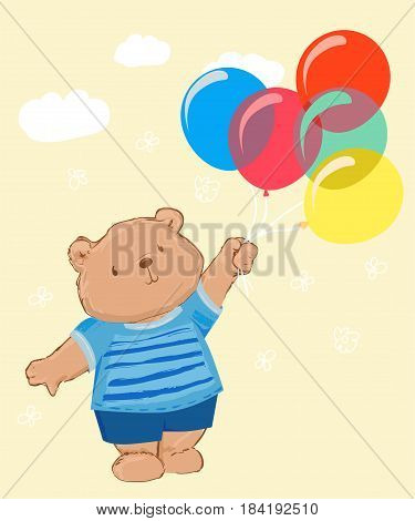 Teddy bear with balloons vector illustration, teddy bear