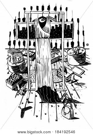 Raster vertical black and white fashion grainy illustration with long dress on hangers drawn in mess of accessories bags and shoes with imperfections. Creative interior design of shop or boutique.
