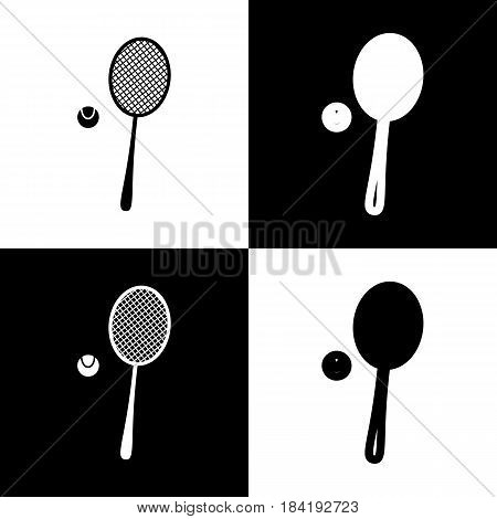 Tennis racquet with ball sign. Vector. Black and white icons and line icon on chess board.