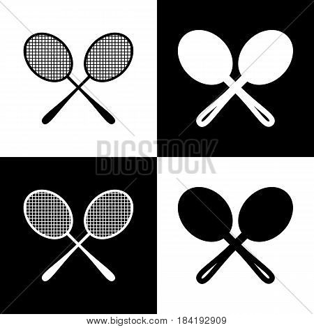 Tennis racquets sign. Vector. Black and white icons and line icon on chess board.
