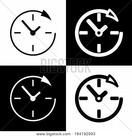 Service and support for customers around the clock and 24 hours. Vector. Black and white icons and line icon on chess board.