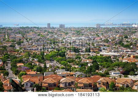 Beautiful cityscape of Long Beach with its port on the horizon, California, USA