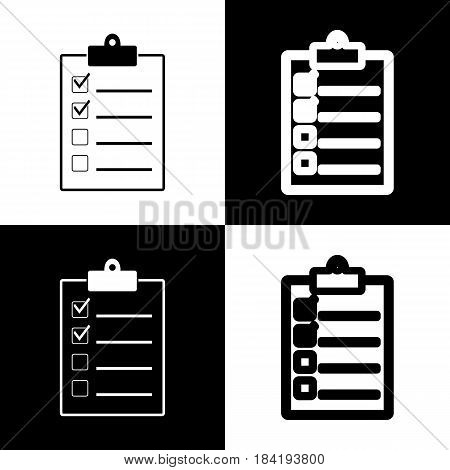 Checklist sign illustration. Vector. Black and white icons and line icon on chess board.