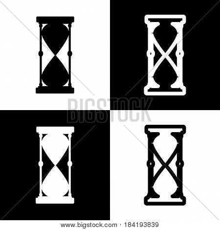Hourglass sign illustration. Vector. Black and white icons and line icon on chess board.