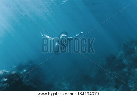 Young woman free diver swimming underwater in deep sea among seaweed.