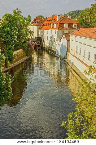 Prague canal houses cityscape architecture, Czech Republic