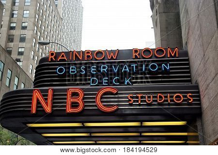 Entrance Marquee Of Nbc Television Studios Of New York, Usa