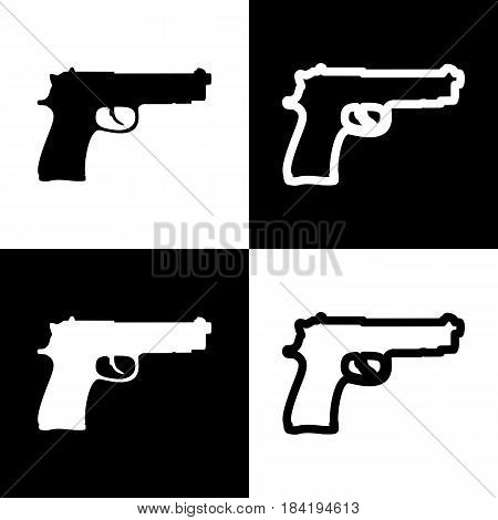 Gun sign illustration. Vector. Black and white icons and line icon on chess board.