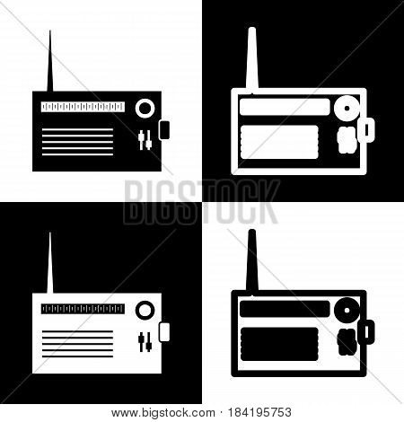 Radio sign illustration. Vector. Black and white icons and line icon on chess board.