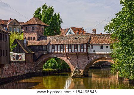 Nuremberg historical houses on canal, Bavaria, Germany