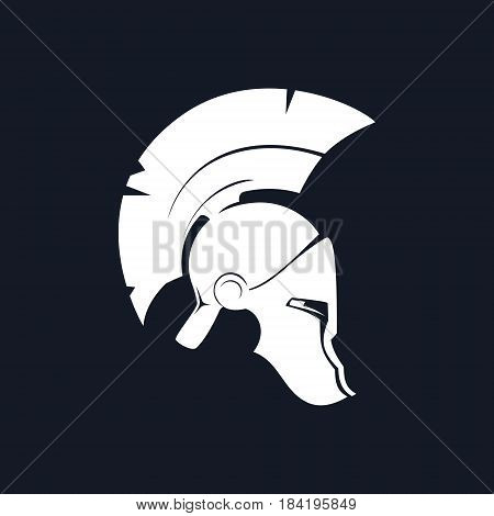 Antiques Greek Helmet ,Silhouette Roman Helmet for Head Protection Warrior with a Crest of Feathers or Horsehair with Slits for the Eyes and Mouth, Black and White Vector Illustration