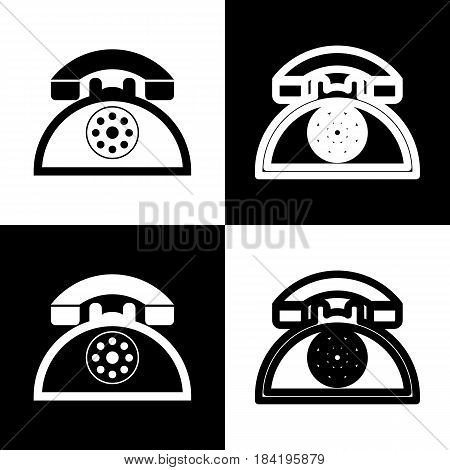 Retro telephone sign. Vector. Black and white icons and line icon on chess board.