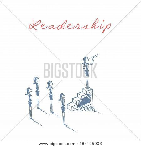 Business woman female leader concept with businesswoman standing on top of stairs looking through telescope. Eps10 vector illustration.