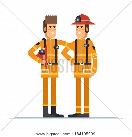 Firefighter officer in personal protecting equipment standing. Cool vector character on firemen rescue workers male character in flat design