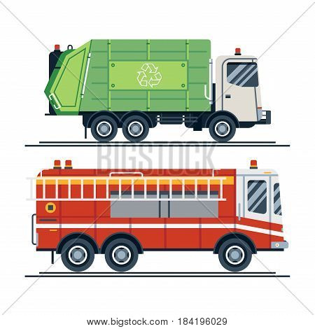 Cool vector urban sanitary vehicle garbage front loader truck and emergency vehicle fire engine truck in trendy flat design.