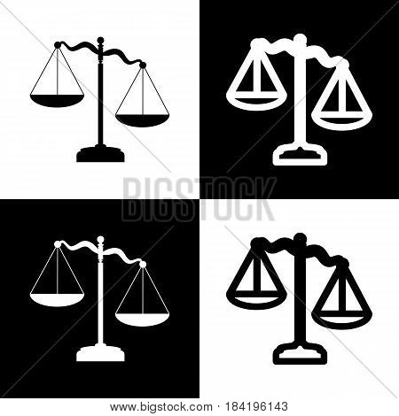 Scales of Justice sign. Vector. Black and white icons and line icon on chess board.