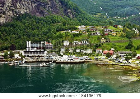 Rural houses in village Geiranger, Norway landscape