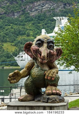 Geiranger, Norway - April 5, 2017: Troll monument in Geiranger, Norway. Evil personages of popular Scandinavian folklore.