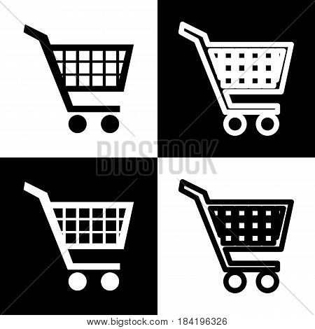 Shopping cart sign. Vector. Black and white icons and line icon on chess board.