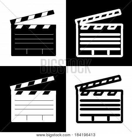 Film clap board cinema sign. Vector. Black and white icons and line icon on chess board.