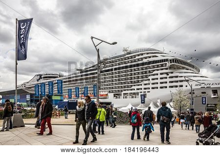 Hamburg, Germany - April 2, 2017: Cruise liner Splendida of Mediterranean Shipping Company berthed on cruise terminal of Hamburg