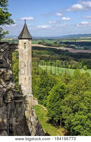 Saxon Switzerland natural park in Germany. Castle Koenigstein.