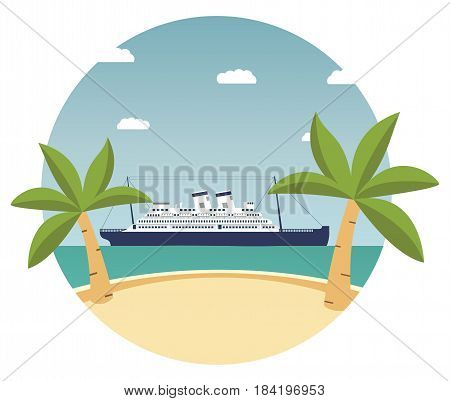Summer tropical beach landscape with palm trees and cruise liner.travel banner.ocean sea cruise liner to the islands.