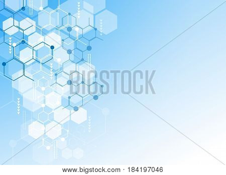 Abstract background medical substance and molecules. Vector illustrations.
