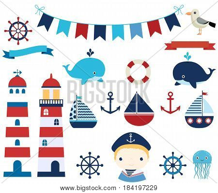 Nautical vector design elements with boats helms and lighthouses for summer baby showers and invitations