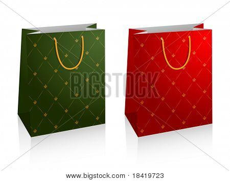 Vector illustration of two shopping bags with floral patterns