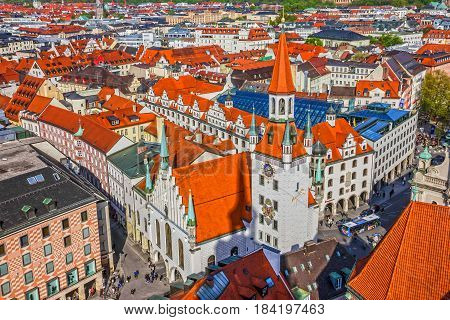 Munich, Germany - April 30, 2017: Architecture of Munich Old Town, Bavaria, Germany.