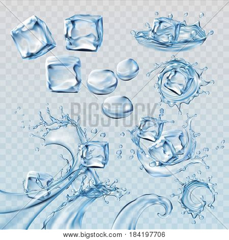 Set vector illustrations water splashes and flows, streams with cubes of melting ice. Design elements