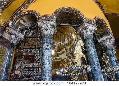 Istanbul, Turkey - April 23, 2017: Interior architecture of the Hagia Sophia, Istanbul. Hagia Sophia is the greatest monument of Byzantine Culture.