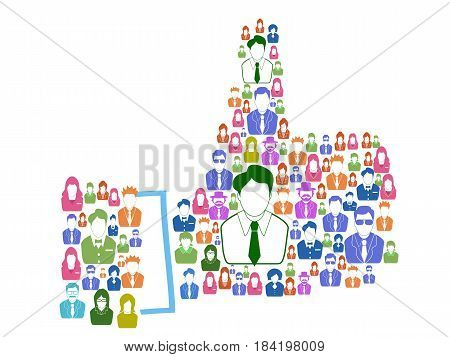isolated business people forming the thumps up