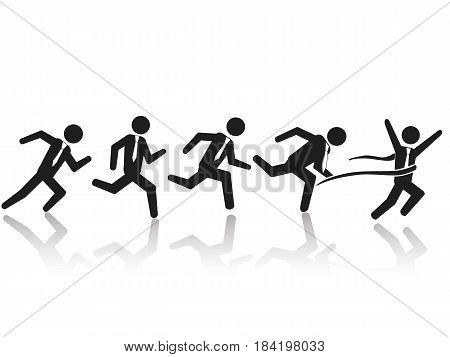 isolated businessman running race on white backlground