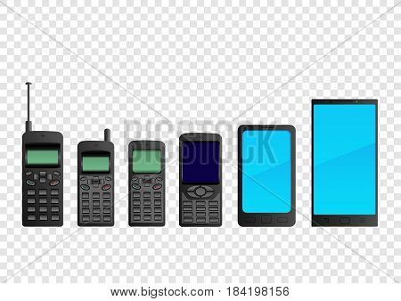 Evolution mobile phone to smartphone. Set of electronic gadgets for communication. Cellphone collection on transparent background