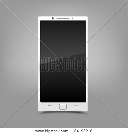 White modern smartphone with shadow on gray background. Smart technology communication mobile phone. Screen off