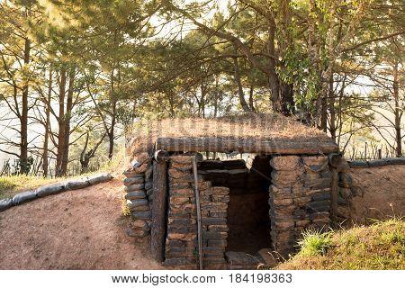 The old sandbag bunker of military base on the hill.