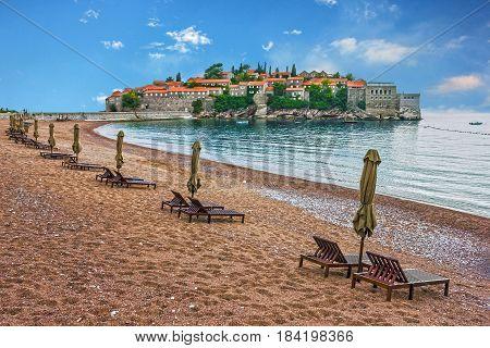Island of Saint Stephen Budva Adriatic sea, Montenegro