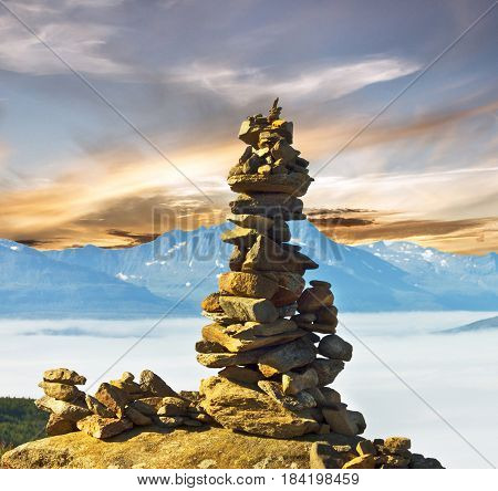 Stones and mountain landscape view, Tromso, Norway