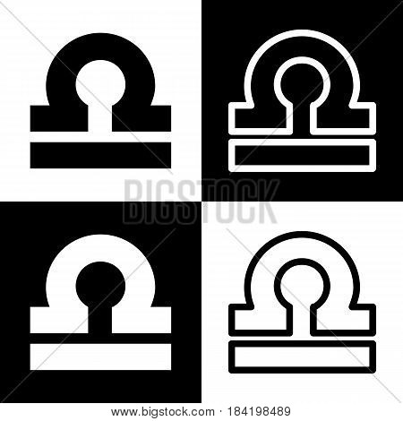 Libra sign illustration. Vector. Black and white icons and line icon on chess board.