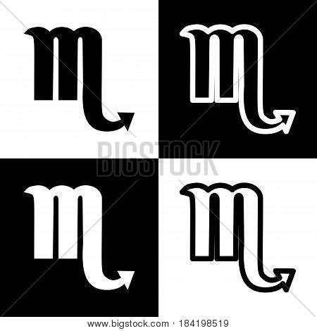 Scorpio sign illustration. Vector. Black and white icons and line icon on chess board.