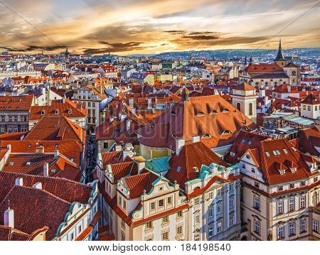 Prague houses, Czech Republic. View on Old Town Square