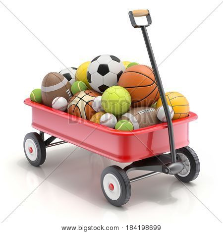 Vintage child's toy mini wagon with sport balls - 3D illustration