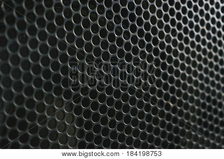 Modern acoustic systems. Metal grating on the sound dynamics. Abstraction and background. Soft focus and beautiful light.
